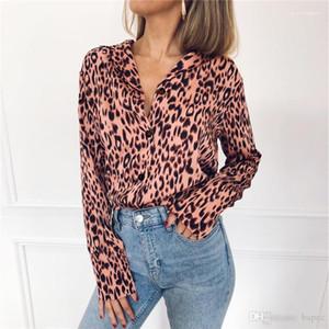 V Yaka Bluz Moda Tasarımcı şifon Baskılı tişörtleri Casual Kadın Yaka Boyun OL Giyim İlkbahar Kadın Leopar