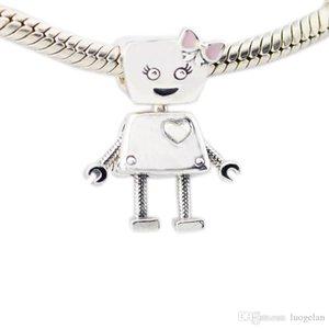 2018 Primavera Nuevo 925 Plata Esterlina Bella Robot Charm Esmalte Rosa Adapta Pandora Pulsera DIY para Las Mujeres Accesorios de Joyería
