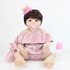 BZDOLL 55 cm Full Body Silicone Vinyle Reborn Baby Doll Toy Nouveau-né Princesse Blonde Bébés Bebe Enfant Bathe Toy Fille Cadeau D'anniversaire
