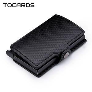 RFID Blocking Fashion Carbon Fiber Credit Card Holder Aluminum Metal Mini Cardholder Male Smart Wallet Leather Case Slim Purse for Men Women
