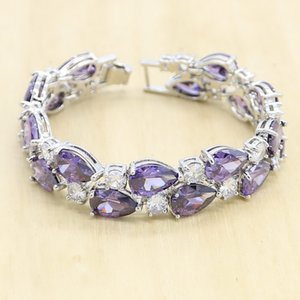 5 Colors Available Silver Color Bracelet For Women Birthday Gift Purple White Zircon Wedding Jewelry