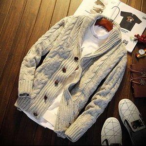 URSPORTTECH otoño invierno 2018 forman la capa de la chaqueta de punto para hombre Slim Fit Botón caliente de tejer ropa suéter Abrigos