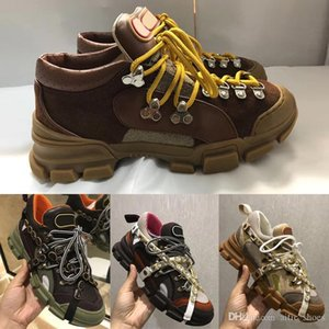 Designer Mountain Climbing Shoes Mens Leather Flashtrek Sneaker With Removable Crystals Trekking Boot Genuine Leather Sneakers W1