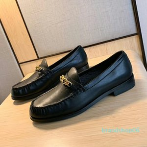TOP QUALITÄT! 2020022901y schwarz beige weiß echtes Leder Kalbsleder Kette loafer beiläufige Ebene Schuhe Damen Arbeit