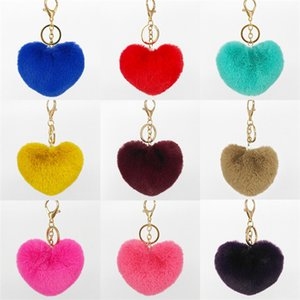 Saco cabelo Peach Key fivela coração de moda de imitação Rex Rabbit Fur grama Plush chaveiro chave T9I00289 ornamento