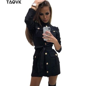 Taovk Women's Dresses Single-breasted Design Stand Collar Pockets Black Short Dress With Belt Ol Blouse Y19052803