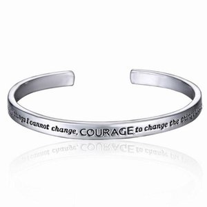 Nova Oração da Serenidade Cuff Bangle prateado pulseira em uma caixa de Carter Love For Women