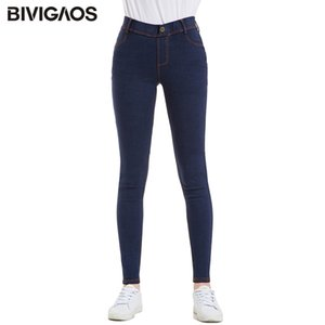BIVIGAOS 2019 Primavera New Mulheres Botão Skinny Jeans Plus Size do falso Jeans Leggings Vintage elásticas Jeggings Push Up Pencil Pants