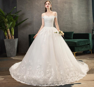2020 new wedding dress bride wedding, shoulder shaking, starry marriage luxurious heavy worker tail Plus Size