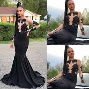 2020 Setwell Juwel Schwarz-Nixe-Abend-Kleider mit langen Ärmeln SpitzeAppliques Sexy Illusion African bodenlangen Abend Partei-Kleider