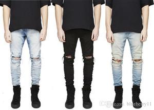 Designer Slim Fit Jeans Strappati Uomini Hi-Street Mens Distressed Denim Joggers Fori Del Ginocchio Lavato Jeans Distrutti Plus Size spedizione gratuita