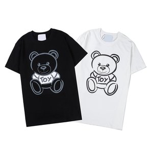 2020 Primavera-Verão Luxo Europa Itália Toy urso dos desenhos animados T-shirt dos homens da forma Mulheres Algodão Camiseta manga curta