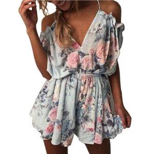 YSMARKET мини дамы Boho одежда пляж комбинезон лето рукавов сексуальное плечо элегантный V шеи повседневная комбинезон шорты комбинезон