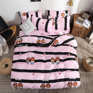Bedding Set Pink and Black Stripes Cute Cartoon Bear Twin Full Queen King Size (Duvet Cover + Bed Flat Sheet + Pillow Case)