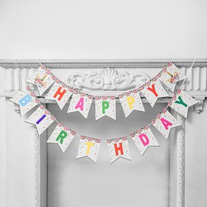 Unicorn Happy Birthday Flags Cute Children Birthday Party Decoration Tool Baby Party Flag