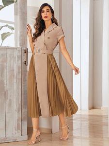 Khaki Prom Dresses V Neck Short Sleeve Sash Tea Length A Line Pleats Women Dress Office Lady Gown In Stock Cheap