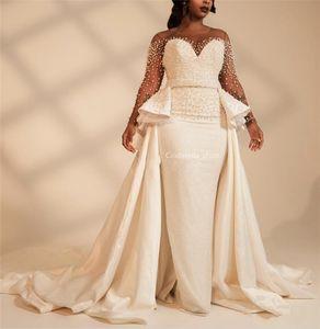 Lange Ärmel Plus Size Mermaid Brautkleider mit Overskirt Perlen wulstiger Illusion Afrikanischen 2020 Brautkleider Customized Vestidos