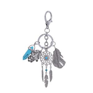 Dream Catcher Tüy Anahtarlık Hamsa El Fatima Altıgen Prizma Çakra Doğal Taş Kristal Kolye Anahtarlık Retro Anahtarlık Yüzükler Takı