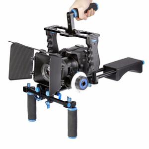 Freeshipping DSLR Rig Stabilizzatore video Montaggio a spalla Rig + Matte Box + Segui Focus + Dslr Cage per videocamera Canon Nikon Sony DSLR Videocamera
