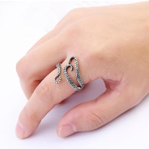 DHL Men Finger Rings Punk Style Squid Octopus Ring New Men's Jewelry Animal Open Adjustable Finger Ring for Man nx