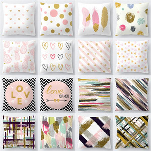 ouro série 40Styles rosa Pillow Case Capa Home Textiles Decoração Sofá Car Almofada decorativa capa de algodão 45 * 45 centímetros 60pcs T1I1132