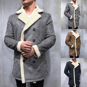 Tasarımcı Coats Moda Katı Renk Yaka Boyun Kalınlaşmış Sıcak Fleece Coats Casual Artı boyutu Mens Orta Uzun Ceket Plus Size Mens