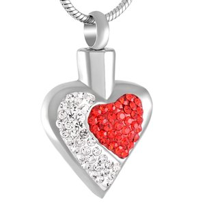 Z232 Heart shapeCrystal cremation memorial jewelry Elegant Women's Cremation necklace with white and red crystal inlay for lover's ash