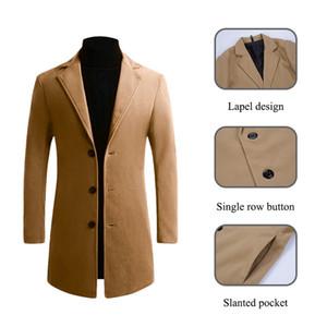 OLOME 2019 invierno chaquetas rompevientos Abrigos mezclas de otoño de alta calidad abrigo de lana largo Slim Fit para hombre sólido ocasional abrigo