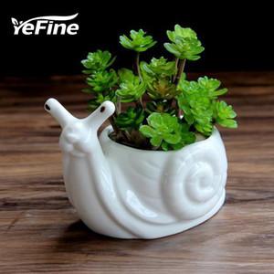 YeFine animal de la historieta Bonsai Pots Las plantas de jardín Cerámica blanca linda forma de caracol Macetas Oficina de porcelana de escritorio Decoración T191016