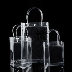 200pcs / серия Новая мода ПВХ Женщины Clear Bag Tote Прозрачный дизайн Косметические мешки плеча Hangbags хранения