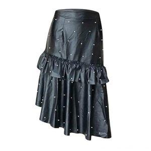 Женщины черный Асимметричный юбки высокой талией оборки Юбки Женская одежда Бисероплетение Плиссированные Maxi Юбки женские Elegant Gothic Party Faux PU Le