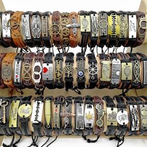 Мода 30 шт. / лот плетение кожаные браслеты смешать стили черный коричневый металл ручной работы ретро манжеты браслеты подходят для мужчин и женщин Шарм ювелирные изделия подарки