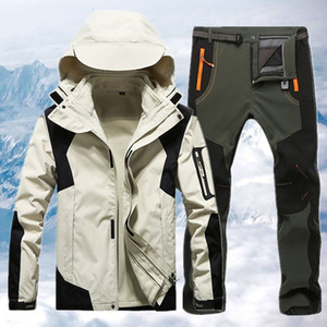 Mens Winter Ski Suit Waterproof Windproof Thick Warm Skiing Jacket And Snow Pants Set Male Snowboard Jacket Parka Coat CYF234