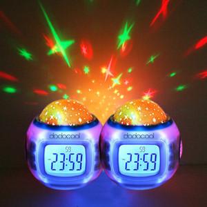 LED Tempo Despertador Digital Luz Da Noite Música Céu Estrelado Projecção Clocks Desktop Bateria Operado Calendário Termômetro para Mesa De Mesa