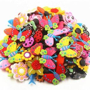 100 Pcs papillon libellule Fleurs Charms Accessoires de chaussures chaussures Charms Décorations de chaussures pour Croc Bracelet Wristband cadeau