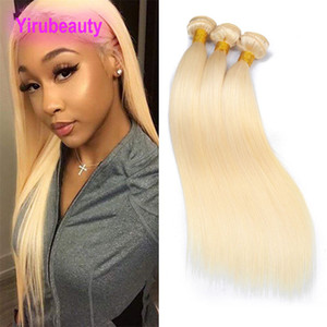 Brazilian Virgin Hair Extensions 3 Bundles 613# Blonde Human Hair Silky Straight 613# Straight Double Wefts Remy Hair Products 8-30inch