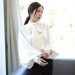 Solid Lantern Sleeve Chiffon Blouse Shirt Women Spring Lace Up Stand Neck Loose Elegant Office Shirt Runway Tops Plus Size A527
