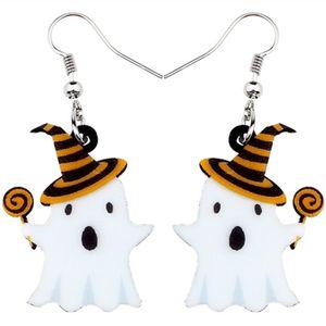 Acrylique fantôme mignon Halloween Lollipop Boucles d'oreilles goutte Dangle Big New bijoux Festival de mode pour les femmes Teen Girls Kid cadeau