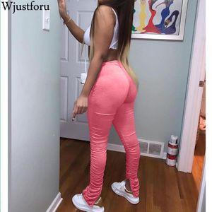 Wjustforu الملابس خزنت بنطال رياضة المرأة نحيل عادية المسكوب مضيئة سراويل داخلية 5 اللون ركض مرصوف اللباس Vestidos