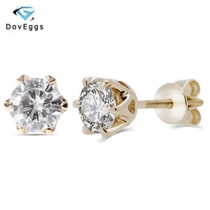 Doveggs 14 K Sarı Altın 1.0ctw 5mm F Farblos Mozanit Pırlanta Saplama Küpe Kadınlar Düğün Için Klasik Küpe Vida Geri Y19070902