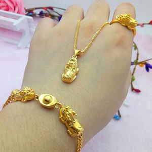 Vietnam Alluvial Goldfrauen Schmuck No Fade Messing Gold Pixiu runder Kreis-Armband-Charme Halskette Ring Luxuxschmucksachen