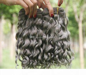 Щепка Gray Deep Wave Human Пучки волос перуанский Богородица Наращивание волос Raw Indian Deep завитые 3 Связки предложения