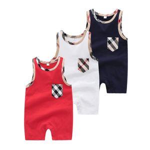 Bebek Çocuk Romper Tasarımcısı Bebek Erkek Ekose Yuvarlak Yaka Kolsuz Şort Tulumlar Yenidoğan Çocuklar Pamuk Bezi Bebek Kız Giysileri F6874