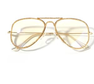 New diamond inlaid metal frame mirror fashion personality hip hop gold decorative glasses full frame