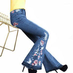 표백 데님 팬츠 여성의 섹시한 빈티지 청바지의 여성 캐주얼 의류 여자 자수 플레어 청바지 패션 디자이너