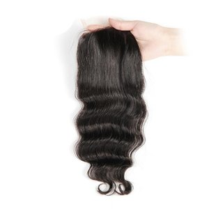 Human Hair Piece Loose Wave Brazilian Peruvian Indian Kinky straight human Hair Lace Closure Hair Extension Natural Color