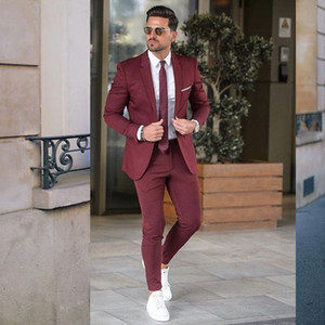 Burgundy Slim Fit Mens Prom Suits Notched Lapel Wedding Suits For Men Tuxedos Two Pieces Blazers Jacket And Pants
