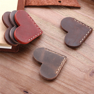 Vintage en forma de corazón Mini Corner Página Marcador Marca plena flor de piel marcadores de marcadores Lector hecho a mano rústico