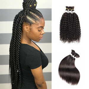KISSHAIR natural color hair bulks straight jerry curly Indian human hair no weft curly hair bulk for braiding