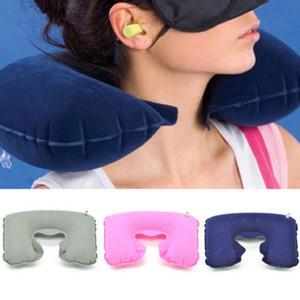 en forma de U plegable inflable del amortiguador de la ayuda del cuello almohada inflable de viaje del plano de aire caliente del sueño